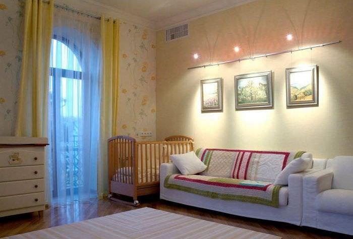 Подсветка диванчика в дизайне детской комнаты