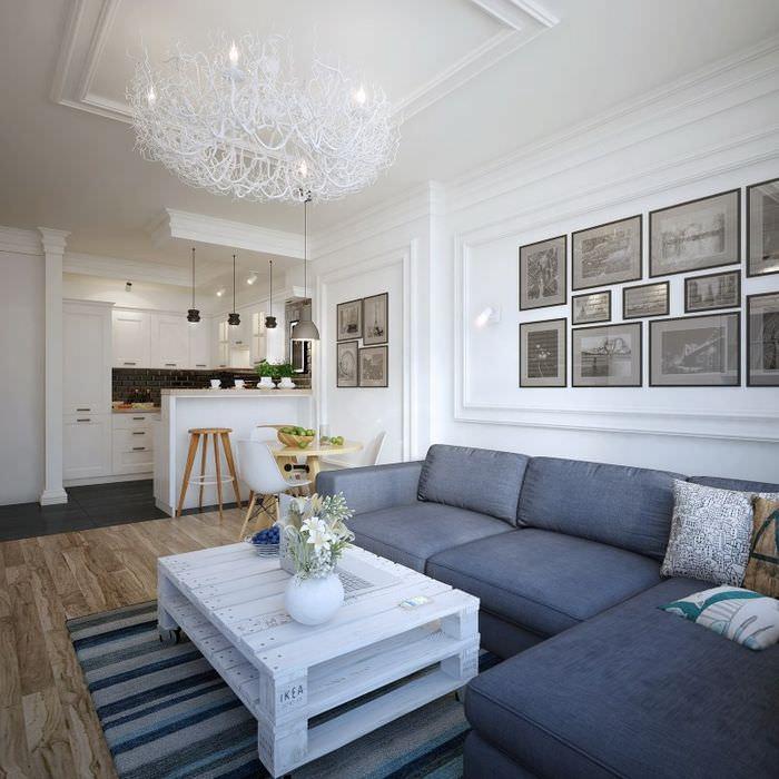 Освещение жилой комнаты в скандинавском стиле