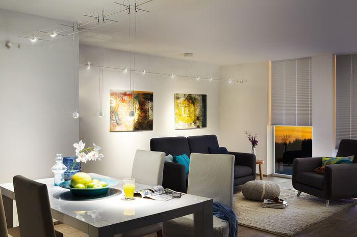 Дизайн освещения гостиной с использованием светодиодных ламп