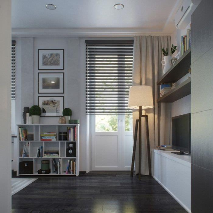 Акцентное освещение в спальной зоне однокомнатной квартиры