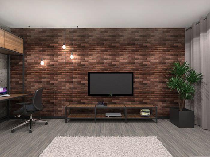 Кирпичная стена в интерьере однокомнатной квартиры в стиле лофт