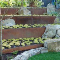 Огородные грядки на косогоре дачной фазенды