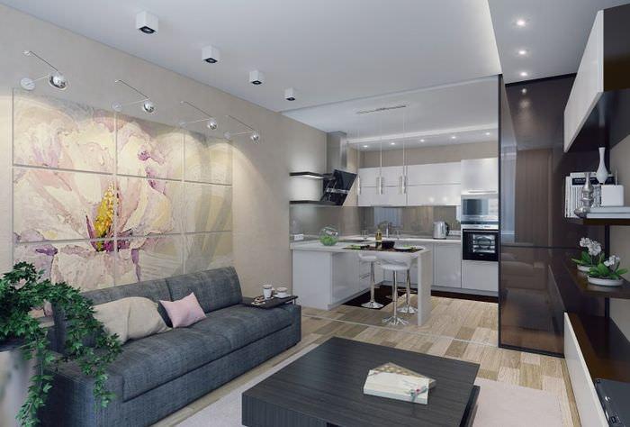 Удобная планировка совмещенной кухни-гостиной