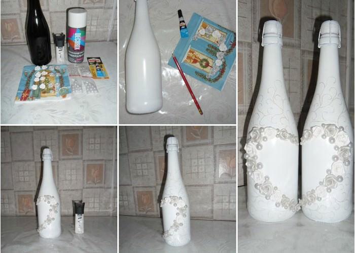 Оформление бутылки шампанского своими руками полимерной глиной