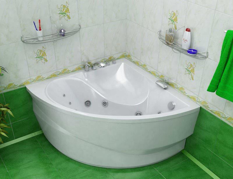 Угловая ванна в интерьере помещения для водных процедур