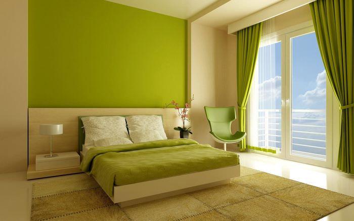 Спальня для супругов в зеленых тонах