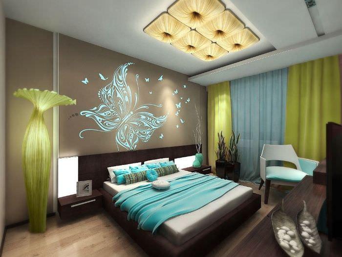 Интерьер красивой женской спальни в современном стиле