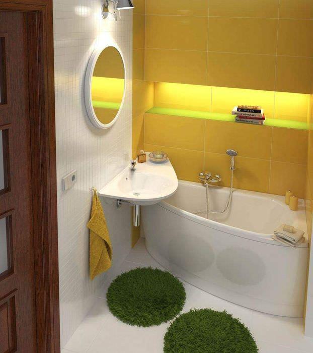 Зонирования пространства ванной с помощью цвета