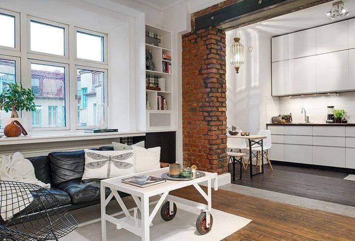 Зонирование однокомнатной квартиры с помощью пола