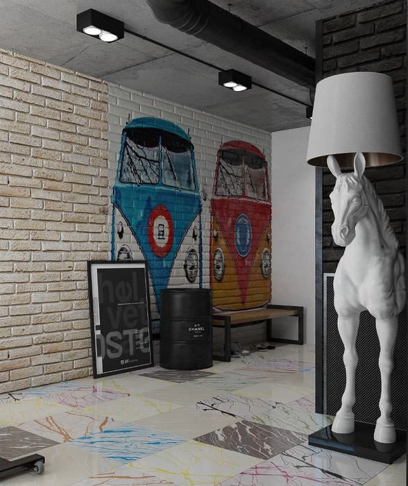 Декорирование пространства жилой комнаты в стиле лофт