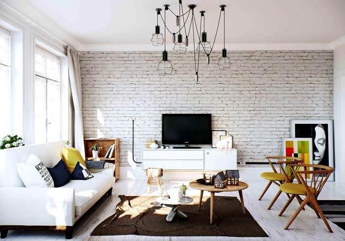 Белоснежный интерьер гостиной в скандинавском стиле