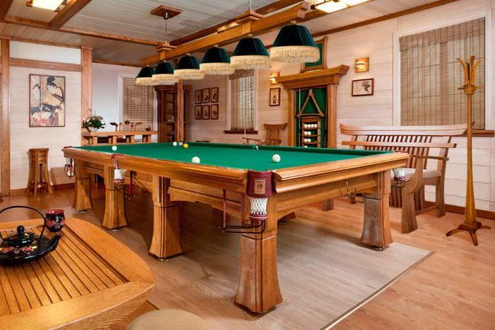 Бильярдный стол в комнате отдыха бани