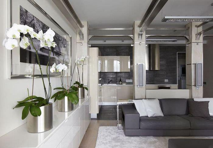 Живые цветы в интерьере однокомнатной квартиры