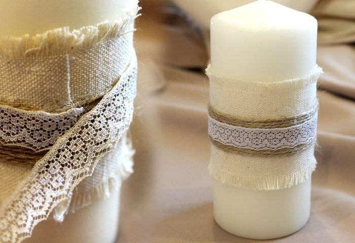 Декорирование свечей своими руками с помощью мешковины