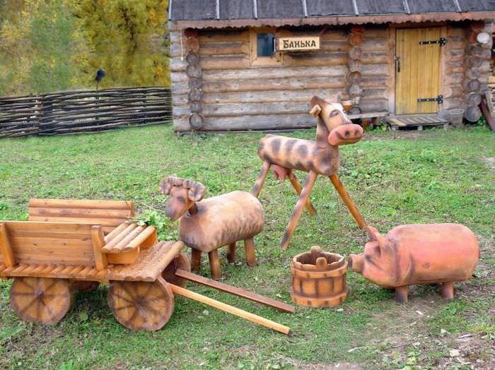 Деревянные скульптуры своими руками для украшения садового участка
