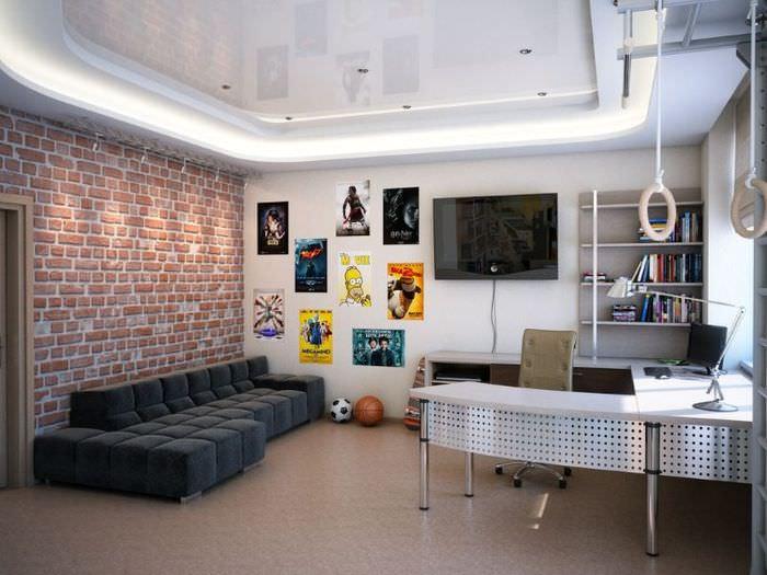Кирпичная стена в интерьере детской комнаты для девочки-подростка