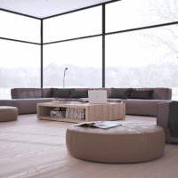 Панорамные окна в большой гостиной стиля минимализма