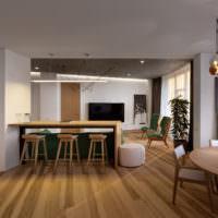 Дерево в интерьере современной кухни-гостиной