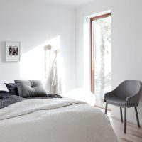 Текстиль в спальне загородного дома стиля минимализма