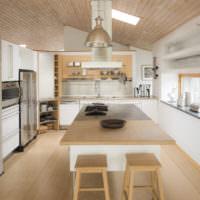 Современный интерьер кухни-гостиной частного дома