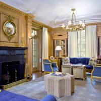 Золотые оттенки в интерьере жилой комнаты