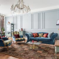Голубые оттенки в интерьере гостиной