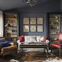 Темные цвета в дизайне гостиной классического стиля