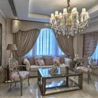 Дизайн классической гостиной в пастельных оттенках