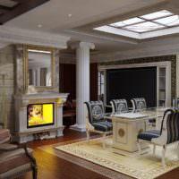 Ионическая колонна в интерьере гостиной