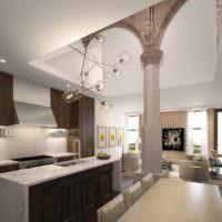 Дизайн-проект кухни-гостиной с колоннами