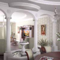 Фонтанчик между колоннами в гостиной