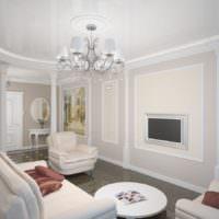 Белая гостиная с колоннами в классическом стиле