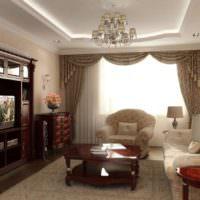 Современный зал в городской квартире с интерьером в коричневых цветах