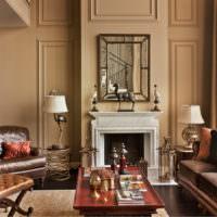 Оттенки коричневого в гостиной с камином