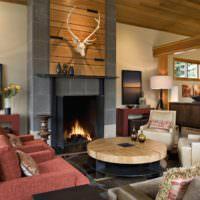 Дизайн гостиной частного дома в коричневых тонах