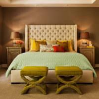 Окраска стен спальни в коричневые тона