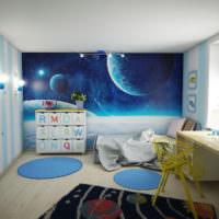 Детская комната в голубых оттенках