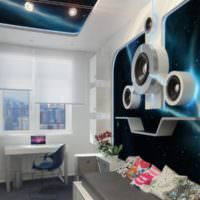 Декорирование стены в космическом стиле