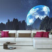 Фантастическая планета на обоях в гостиной