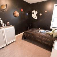 Черные стены с муляжами планет солнечной системы