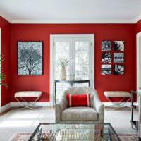 Окраска стен в красный цвет
