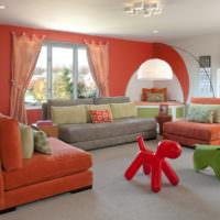 Дизайн гостиной в красных оттенках