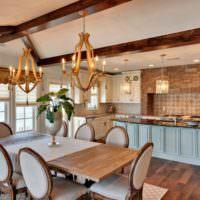 Деревянная люстра в дизайне гостиной