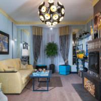 Люстра в стиле поп-арт в гостиной комнате