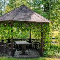 Деревянная беседка в ландшафте сада