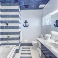 Мозаика в оформлении ванной комнаты в морском стиле