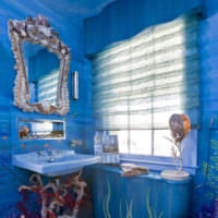 Красивое оформление ванной в голубых тонах
