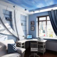 Объемные декорации в комнате морского стиля