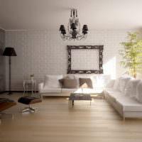 Черная люстра в дизайне гостиной