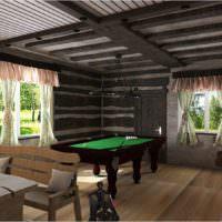 Дизайн-проект банной комнаты отдыха с бильярдом